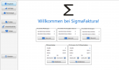 Der Startbildschirm von Sigma Faktura liefert Ihnen eine Übersicht über alle ausgestellten Dokumente sowie Erinnerungen für ausstehende Zahlungen. Zudem sind Shortcuts (Abkürzungen) zu häufig gebrauchten Funktionen (z.B. Rechnungserstellung).